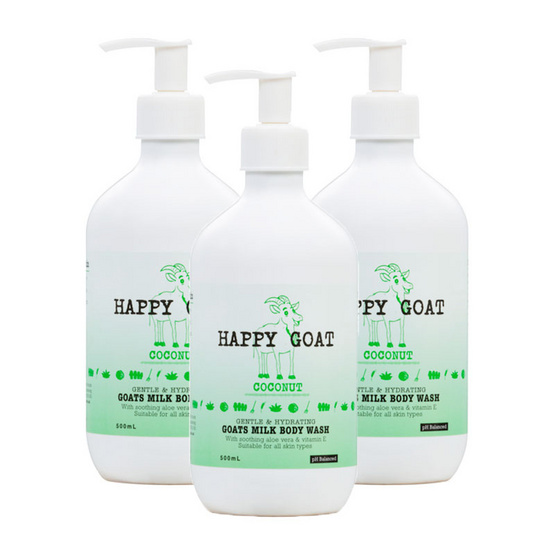Happy Goat Milk Bodywash Coconut pack 3