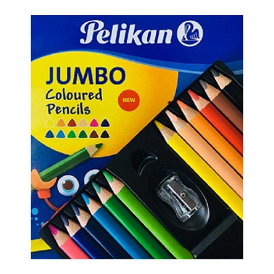 Pelikan ดินสอสีไม้ ด้ามสามเหลี่ยม ขนาดจัมโบ้ 12 สี