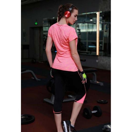 กางเกงออกกำลังกาย รุ่น Dry Fit สีดำ-ชมพู