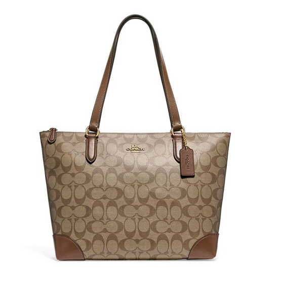 กระเป๋า COACH F29208 ZIP TOP TOTE IN SIGNATURE CANVAS (IME74) [MCF29208IME74]