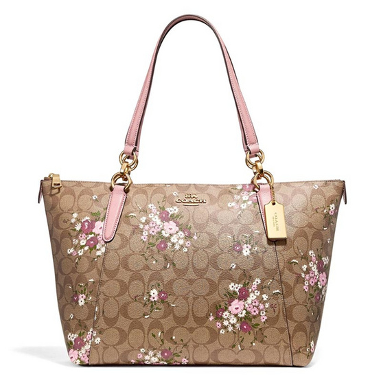 กระเป๋า COACH F30247 AVA TOTE IN SIGNATURE CANVAS WITH FLORAL BUNDLE PRINT (IMLGQ) [MCF30247IMLGQ]