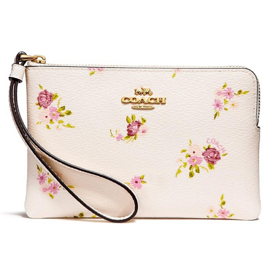 กระเป๋า COACH F30140 CORNER ZIP WRISTLET WITH DAISY BUNDLE PRINT  (IMCAH) [MCF30140IMCAH]