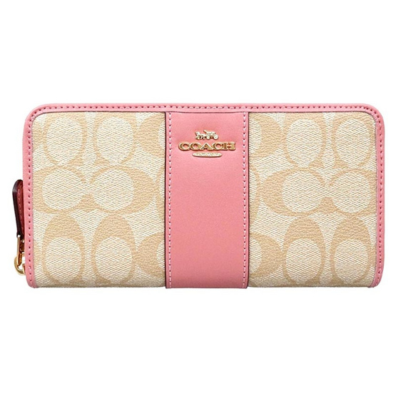 กระเป๋า COACH F54630 ACCORDION ZIP WALLET IN SIGNATURE COATED CANVAS WITH LEATHER STRIPE  (IMNHK) [MCF54630IMNHK]