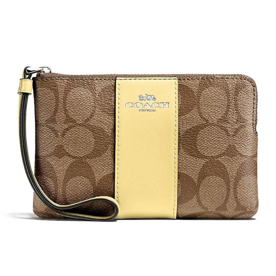 กระเป๋า COACH F58035 CORNER ZIP WRISTLET IN SIGNATURE COATED CANVAS WITH LEATHER STRIPE  (SVNID) [MCF58035SVNID]