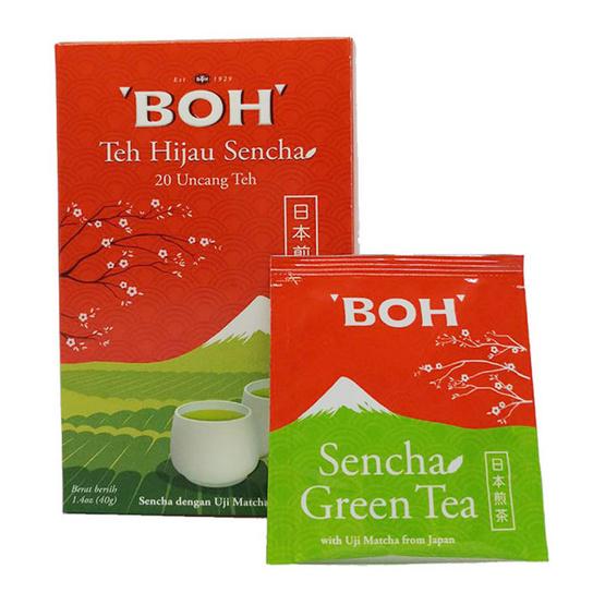 BOH ชาเขียวเซนฉะฉบับญี่ปุ่น ชนิดซองชงตราโบ๊ บรรจุ 20 ซอง/กล่อง