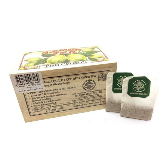 Mlesna Lemon ชาดำกลิ่นเลมอน ชนิดซอง ตรามาเลสน่า บรรจุ 25 ซอง/กล่อง (แพ็ค 3 กล่อง)