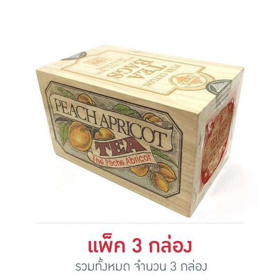 Mlesna Peach Apricot ชาดำกลิ่นพีชแอปริคอท ชนิดซอง ตรามาเลสน่า บรรจุ 25 ซอง/กล่อง (แพ็ค 3 กล่อง)