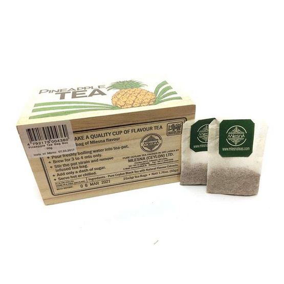 Mlesna Pineapple ชาดำกลิ่นสับปะรด ชนิดซอง ตรามาเลสน่า บรรจุ 25 ซอง/กล่อง (แพ็ค 3 กล่อง)