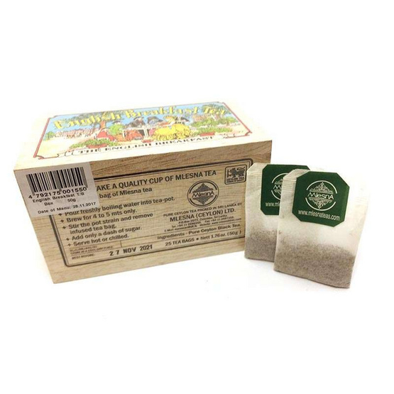 Mlesna English Breakfast ชาดำอิงลิชเบรกฟาสต์ ชนิดซอง ตรามาเลสน่า บรรจุ 25 ซอง/กล่อง (แพ็ค 3 กล่อง)