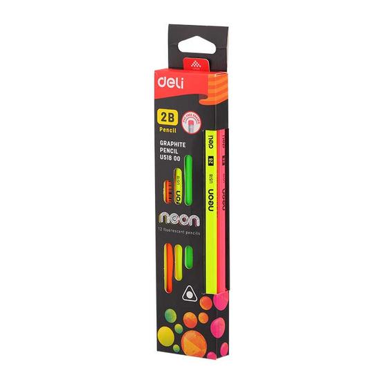 Deli ดินสอไม้ 2B ทรงสามเหลี่ยม คละสีนีออน (12 แท่งในกล่อง)