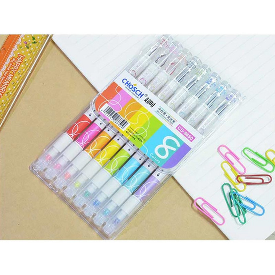 Chosch ปากกาเจลหัวเพชร 0.5 mm + ไฮไลท์สีปลายด้าม รุ่น CS-8650 (แพ็ค 8 แท่ง)