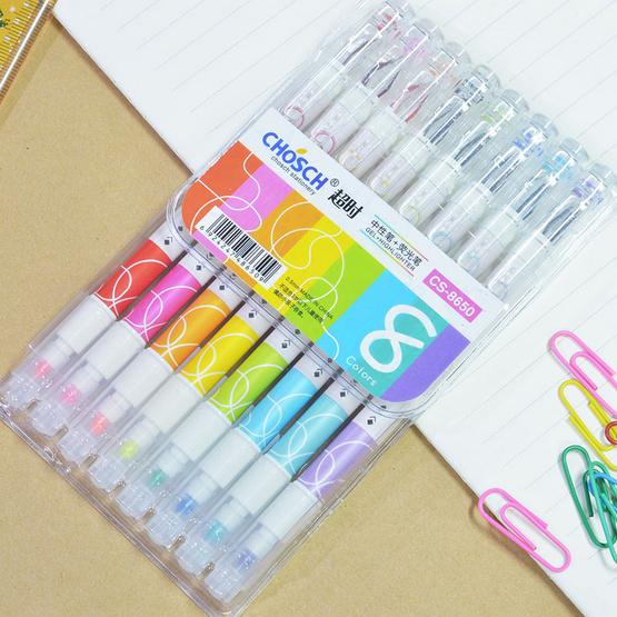 Chosch ปากกาเจลหัวเพชร 0.5 มม.+ไฮไลท์สีปลายด้าม CS-8650 (แพ็ค8ด้าม)