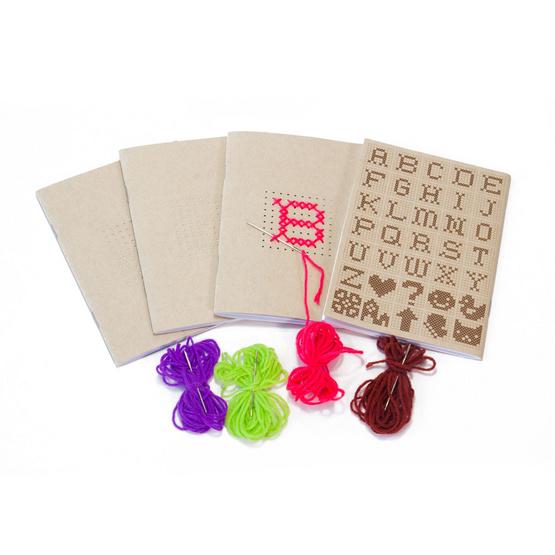 Double A สมุดมุงหลังคา A6 รุ่น Cross stitch DIY 24 แผ่น/เล่ม (แพ็ค 4 เล่ม)
