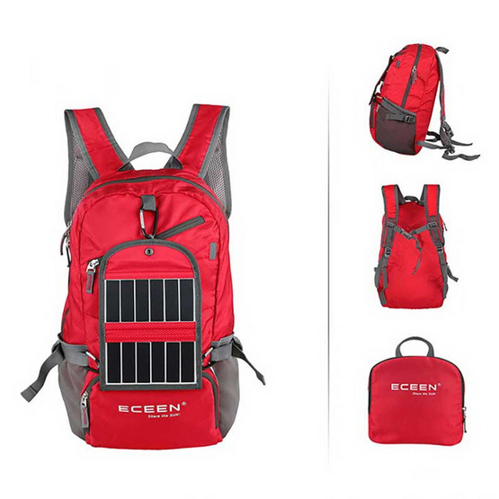 ECEEN กระเป๋าเป้พร้อมแผง Solar cell สีแดง