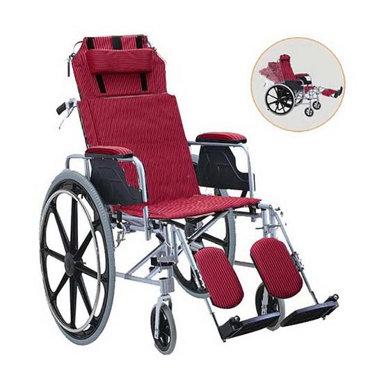 KTHealth รถเข็นผู้ป่วย ปรับเอนนอนและพับได้ สีแดง รุ่น KT955R