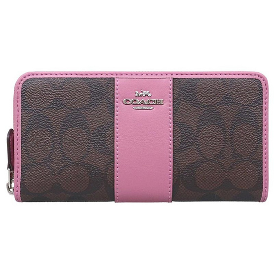sale retailer 8f97b c0ad6 กระเป๋า COACH F54630 ACCORDION ZIP WALLET IN SIGNATURE COATED CANVAS WITH  LEATHER STRIPE (SVNJK) [MCF54630SVNJK]