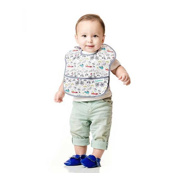 Bumkins ผ้ากันเปื้อนกันน้ำ รุ่น Super Bib สีขาว ลาย Urban Bird สำหรับอายุ 6-24 เดือน