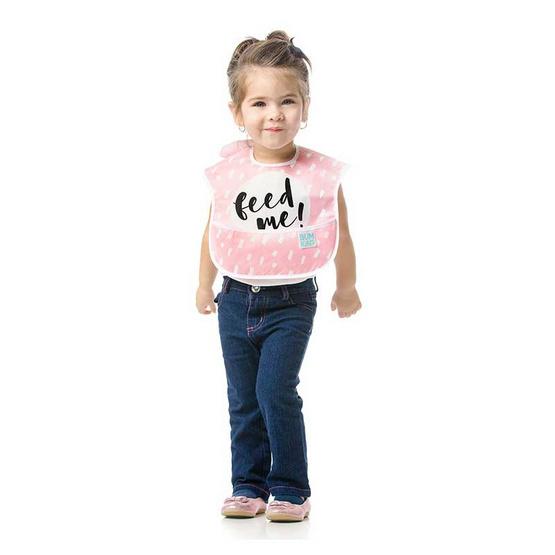 Bumkins ผ้ากันเปื้อนกันน้ำ รุ่น Super Bib สีชมพู ลาย Feed Me สำหรับอายุ 6-24 เดือน