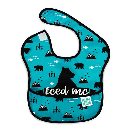 Bumkins ผ้ากันเปื้อนกันน้ำ รุ่น Super Bib สีฟ้า ลาย Feed Me Bear สำหรับอายุ 6-24 เดือน
