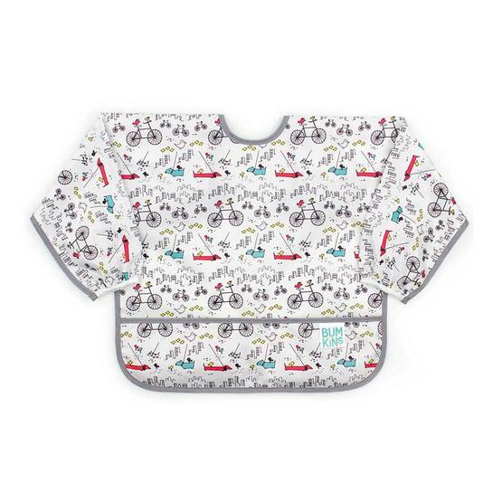 Bumkins ผ้ากันเปื้อนกันน้ำแขนยาว รุ่น Sleeved Bib สีขาว ลาย Urban Birds สำหรับอายุ 6-24 เดือน