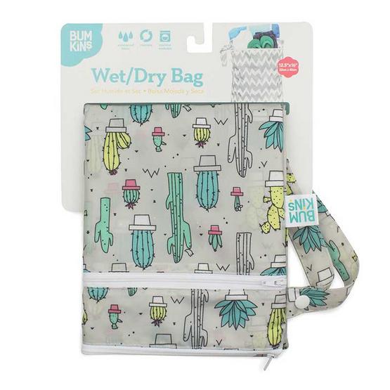 Bumkins ถุงผ้ากันน้ำ 2 ช่อง รุ่น Wet Dry Bag สีเขียว ลาย Cacti