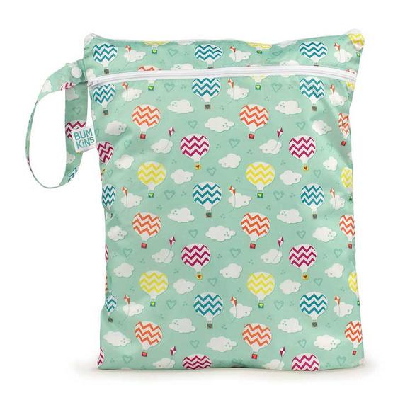 Bumkins ถุงผ้ากันน้ำ 2 ช่อง รุ่น Wet Dry Bag สีเขียว ลาย Balloon