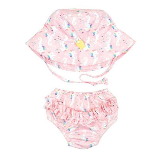 Bumkins Swim Diapers กางเกงผ้าอ้อมว่ายน้ำพร้อมหมวก แบบซักแล้วนำกลับมาใช้ได้ใหม่ สีน้ำเงิน ลาย Deep Sea
