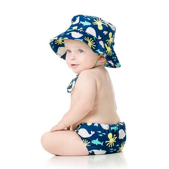 Bumkins Swim Diapers กางเกงผ้าอ้อมว่ายน้ำพร้อมหมวก แบบซักแล้วนำกลับมาใช้ได้ใหม่ สีฟ้า ลาย Ahoy