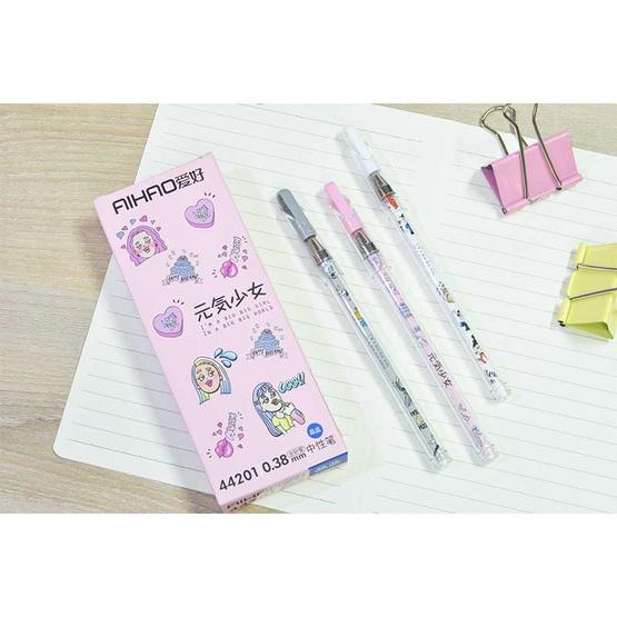 Aihao ปากกาเจลแฟนซี 0.38 mm Big Girl Big World ด้ามคละลายคละสี (12 แท่ง/กล่อง)