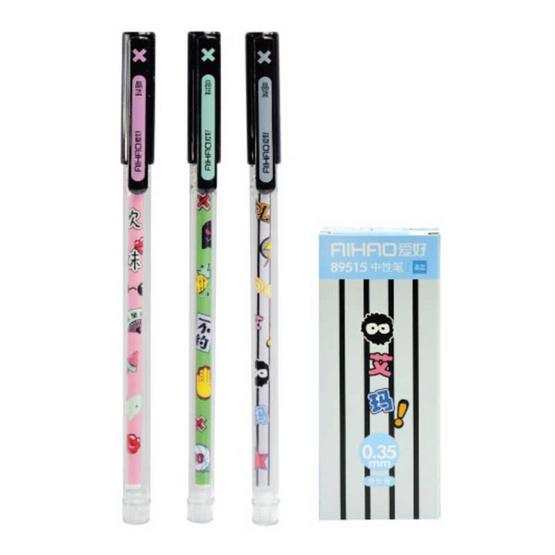 Aihao ปากกาเจลแฟนซี 3 ลาย ด้าม 3 สี 0.35 mm คละลาย คละสี (12แท่ง/กล่อง)
