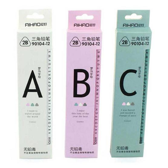 Aihao ดินสอ 2B ทรง 3 เหลี่ยม ABC คละสี (12 แท่ง/กล่อง)