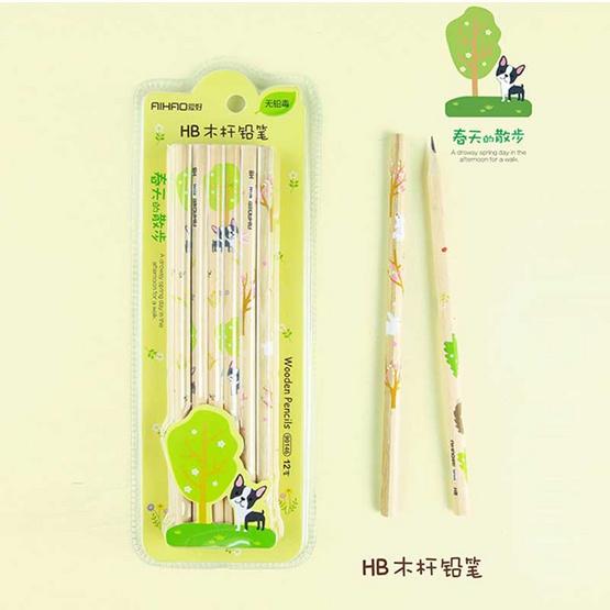 Aihao ดินสอ HB ลายสัตว์น่ารัก คละลาย คละสี (แพ็ค 12 แท่ง)