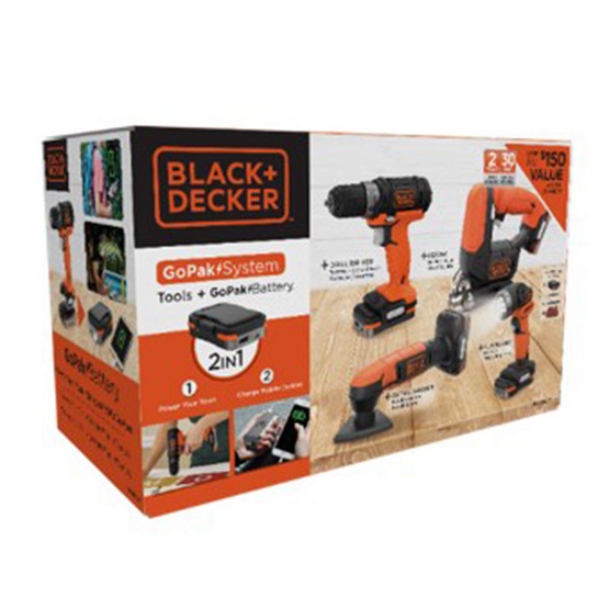 BLACK&DECKER ชุดเครื่องมือช่างไร้สาย4ชิ้น GoPak BDCK124S1S-B1 12โวลต์