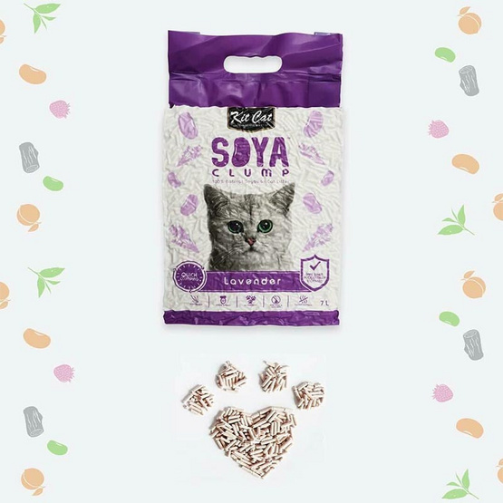 Kit Cat SoyaClump ทรายแมวเต้าหู้ สูตร Lavender ขนาด 7 ลิตร