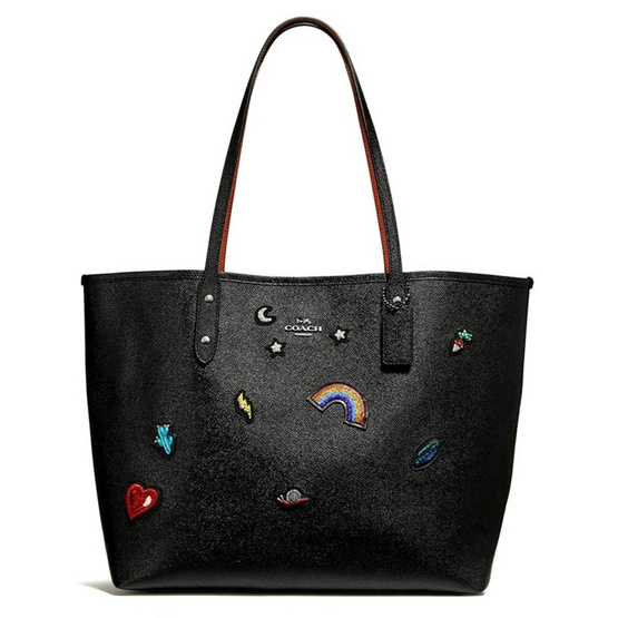 กระเป๋า COACH F25798 CITY TOTE WITH SOUVENIR EMBROIDERY (SVBK) [MCF25798SVBK]