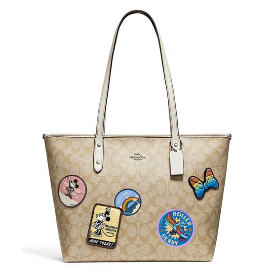 กระเป๋า COACH F29358 CITY ZIP TOTE IN SIGNATURE CANVAS WITH MINNIE MOUSE PATCHES (SIGHA) [MCF29358SIGHA]