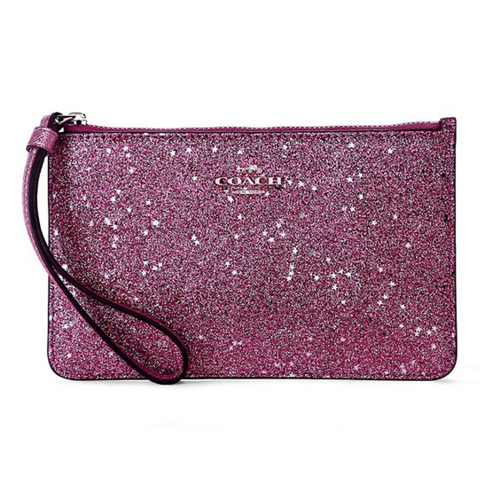 กระเป๋า COACH F33702 SMALL WRISTLET WITH STAR GLITTER PRINTT  (SVNUB) [MCF33702SVNUB]