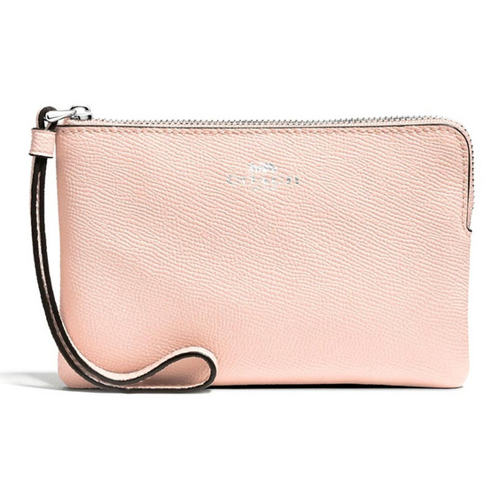 กระเป๋า COACH F58032 CORNER ZIP WRISTLET IN CROSSGRAIN LEATHER (SVLP) [MCF58032SVLP]