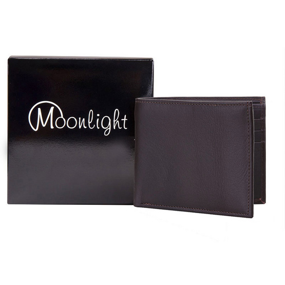 Moonlight  กระเป๋าสตางค์ชายหนังวัวแท้ รุ่น Calvin สีน้ำตาลเข้ม