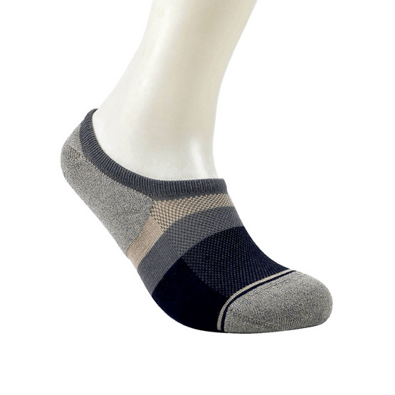 emoo ถุงเท้า Men's Premium Bamboo Seamless No Show Socks สี Light Grey
