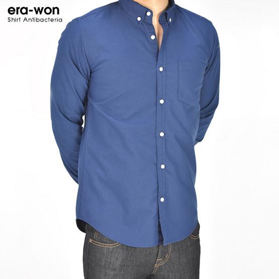 ERA-WON เสื้อเชิ้ตอ๊อกฟอร์ด (Oxford Shirt Antibacteria) 0888BW01 สี Blue Wizard