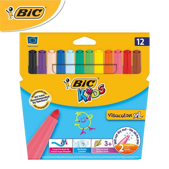 BIC Kids ปากกาสีเมจิก ล้างออกได้ Visacolor XL 12 สี