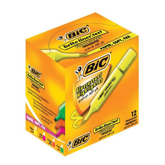 BIC ปากกาเน้นข้อความ ไบร์ทไลเนอร์เทค ฟลูโอ (12 ด้าม/กล่อง)
