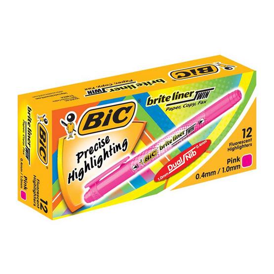 BIC ปากกาเน้นข้อความ 2 หัว ไบร์ทไลเนอร์ทวิน (12 ด้าม/กล่อง)