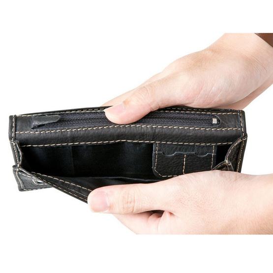 MOONLIGHT กระเป๋าสตางค์ใบยาวหนังแท้ รุ่น Less But More 01 สีดำ