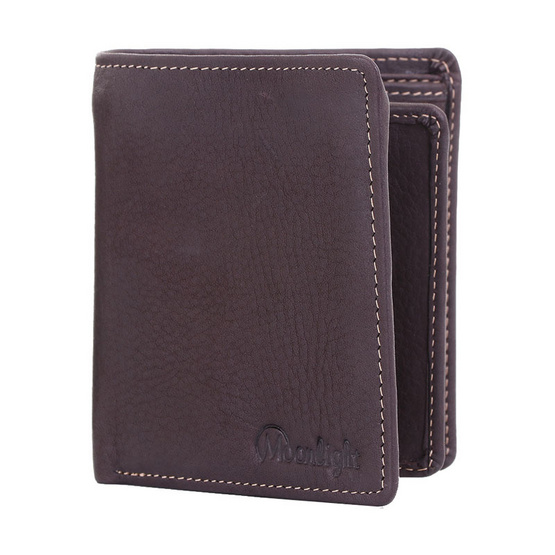 MOONLIGHT กระเป๋าสตางค์ผู้ชาย ทรงตั้ง ใช้ง่าย ใส่กระเป๋าหลังได้พอดี รุ่น Less But More 08 สีน้ำตาลเข้ม