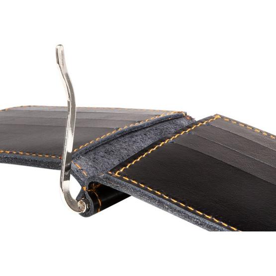 MOONLIGHT กระเป๋าหนีบแบงค์ หนังแท้ รุ่น Money Clip สีดำ