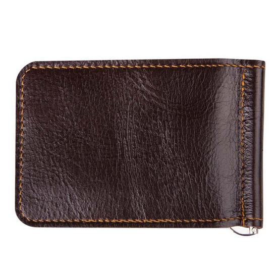 MOONLIGHT กระเป๋าหนีบแบงค์ หนังแท้ รุ่น Money Clip สีน้ำตาลเข้ม
