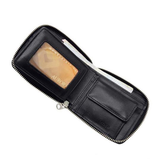 MOONLIGHT กระเป๋าสตางค์หนังแท้ สำหรับผู้ชายซิปรอบ รุ่น Ronald สีดำ
