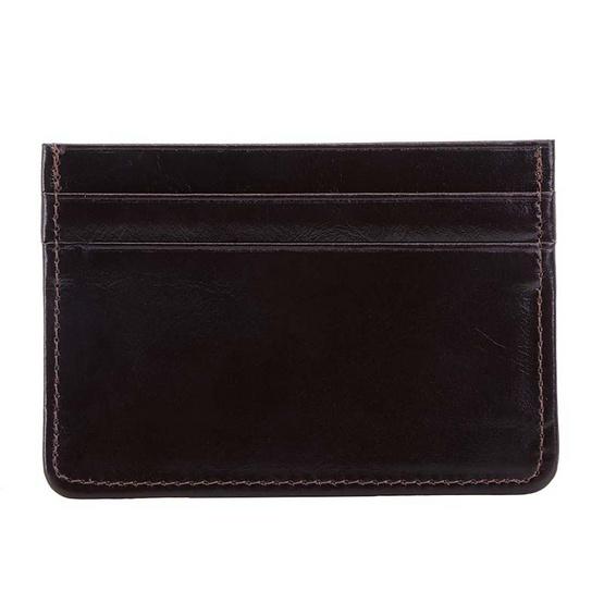 MOONLIGHT กระเป๋าใส่บัตร หนังแท้ รุ่น Simply สีน้ำตาลเข้ม